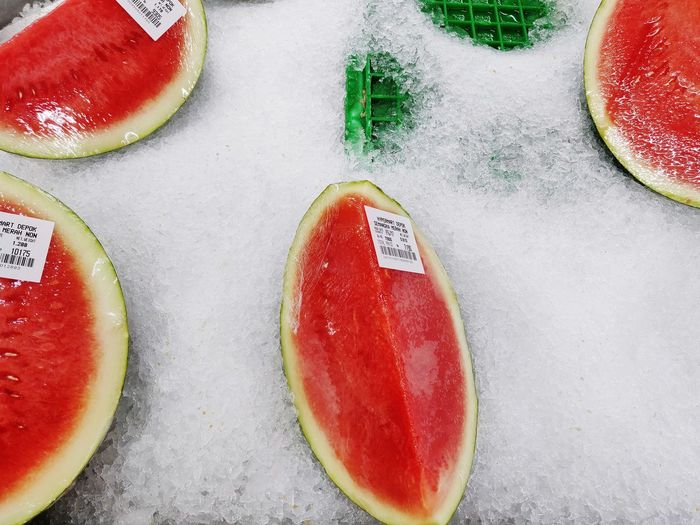 Watermelons Red Table High Angle View Close-up Sweet Food Food And Drink Watermelon Serving Size Ready-to-eat
