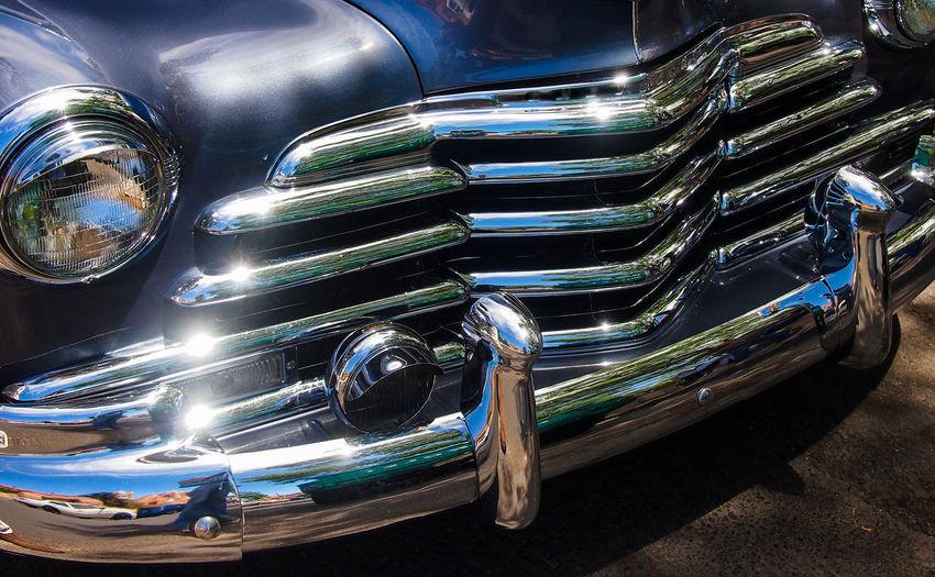 shiny car Oldtimer Car Motor Vehicle Shiny Transportation Vintage Car No People Close-up Lighting Equipment Silver Colored Chrome Retro Styled Design Luxury