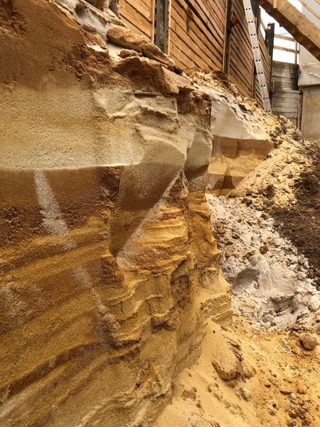 Sediment Layers Sediments Rock Layers Eroded Erosion Day Construction Industry Architecture Built Structure Sand Construction Site Textured
