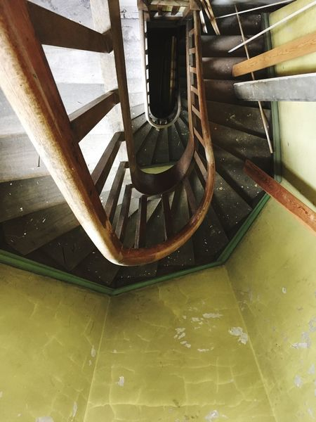 Is it safe? Above View Rickety Staircase Steps And Staircases Steps Railing Indoors  High Angle View Stairs No People Built Structure Spiral Staircase Architecture Hand Rail Day
