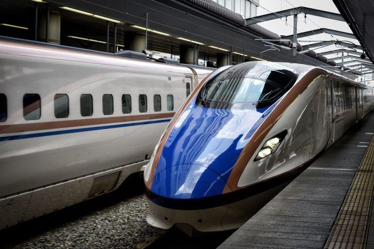 Bullet Train At Railroad Station Platform