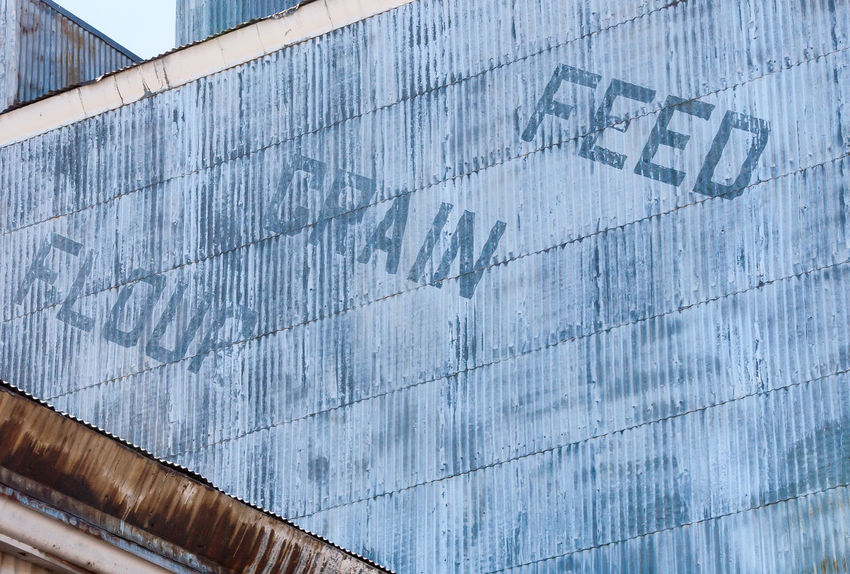 FLOUR GRAIN FEED Agriculture Animal Feed Architecture Building Exterior Built Structure Colorado Day Far Farm Industrial Low Angle View No People Outdoors Painterly Sky Storage Text Type