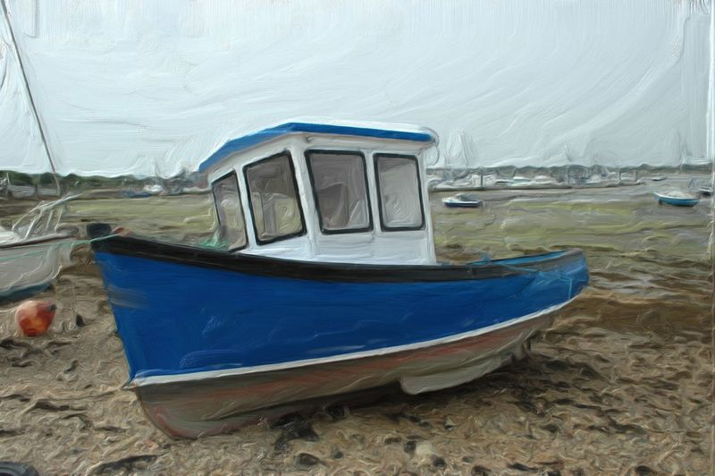 A quick go with corel painter x Corel Corel Painter Boat Beach Blue Eastney Hampshire  England Water Nautical Vessel Sea Moored Beach Sand Sky Close-up