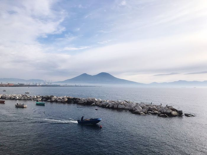 Vesuvio Nautical Vessel Transportation Mode Of Transportation Mountain Floating On Water Travel Scenics - Nature Waterfront Nature Cloud - Sky