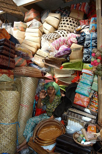 Messystock Baskets Oldwoman Handcraft Stalll