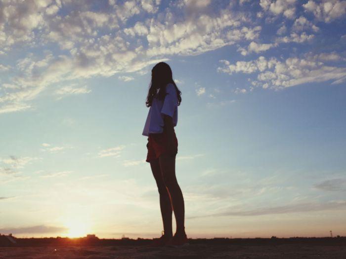Full Length Sunset Standing Beauty Summer Women Silhouette Young Women Sun Sky