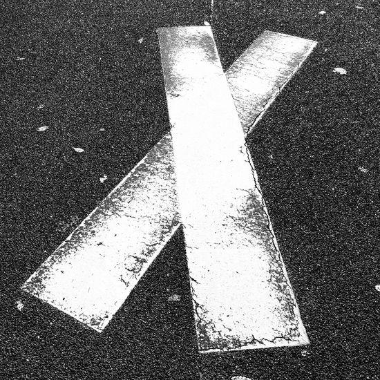 X Road Marking B&w Blackandwhite
