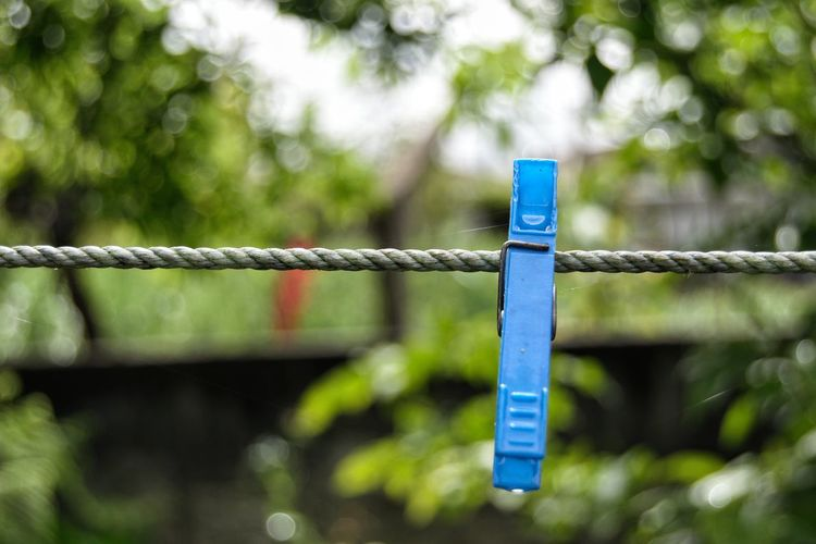 Close-Up Of Blue Clothespin Hanging On Clothesline