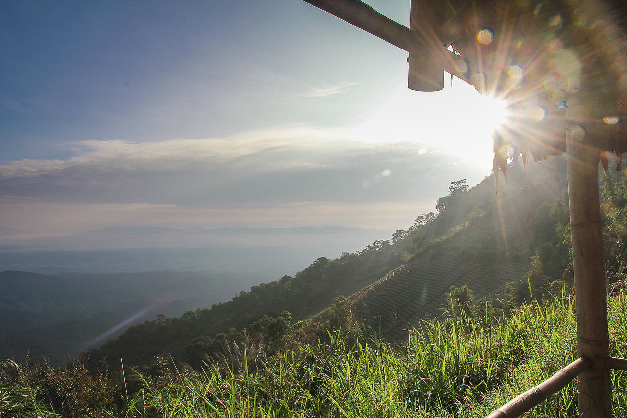 sky, scenics - nature, plant, beauty in nature, nature, tree, tranquility, landscape, mountain, tranquil scene, environment, cloud - sky, sunlight, land, sun, non-urban scene, day, lens flare, sunbeam, no people, outdoors, bright, brightly lit