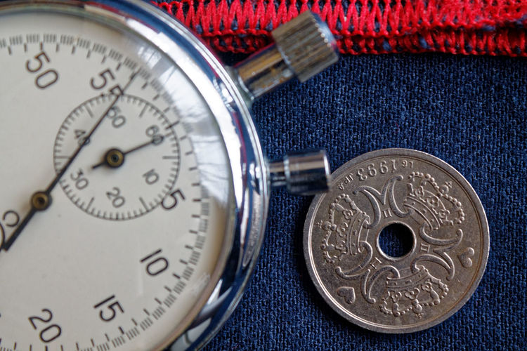 Close-up of gauge and coin