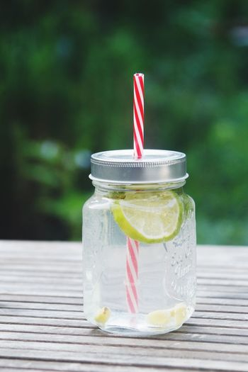 Close-up of drink in jar on table