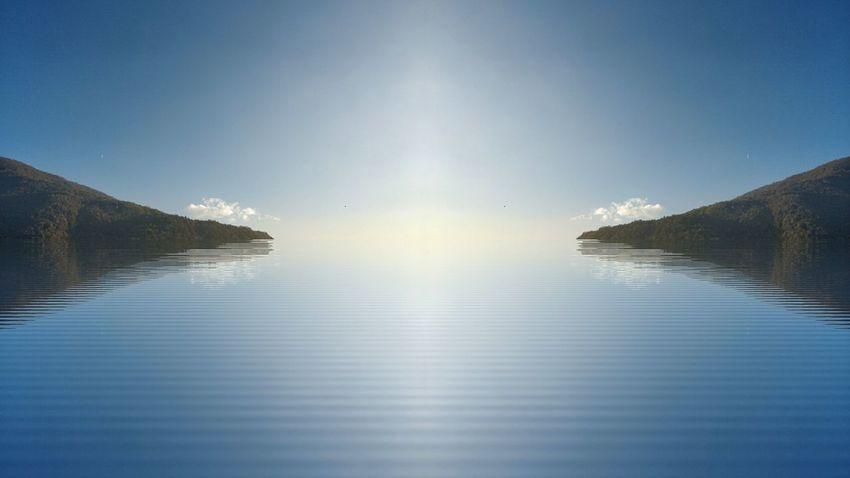 The light is out there. Water Lake Reflection Clear Sky Outdoors Day Horizon Over Water Symmetry Scenics Art Photograpy Blue Blurry Blur EyeEm Ready