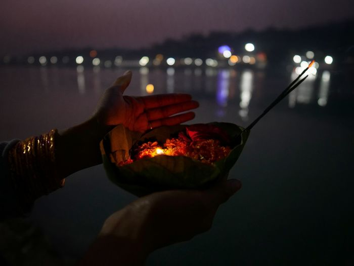 Spirituality Holy Ganges River Candle Flower Rishikesh India Human Hand Illuminated Holding Reflection Close-up Personal Perspective Religion Place Of Worship Capture Tomorrow