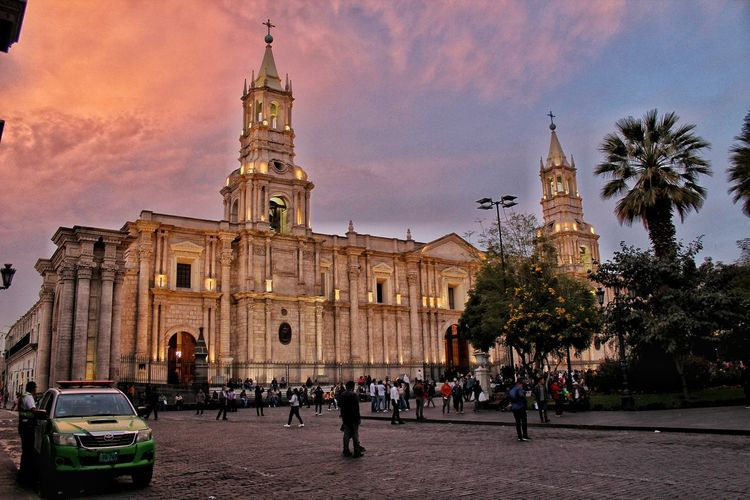 Cathedral of Arequipa Cathedral City Clock Tree Illuminated Place Of Worship Religion Sky Architecture Building Exterior Built Structure
