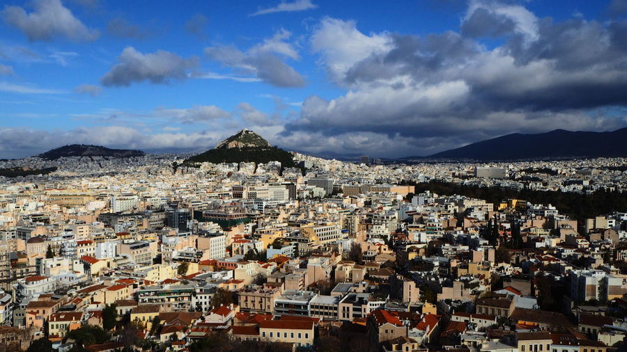 Mount lycabettus from the pathenon Check This Out Lycabettus Beautiful Day Beautiful View Bluesky Athens, Greece Clouds City First Eyeem Photo