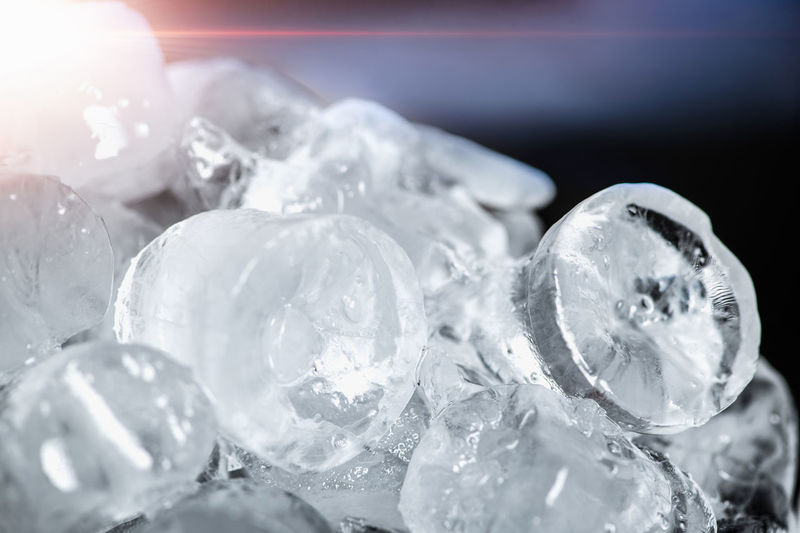 Ice cubes, closeup, light coming from a side