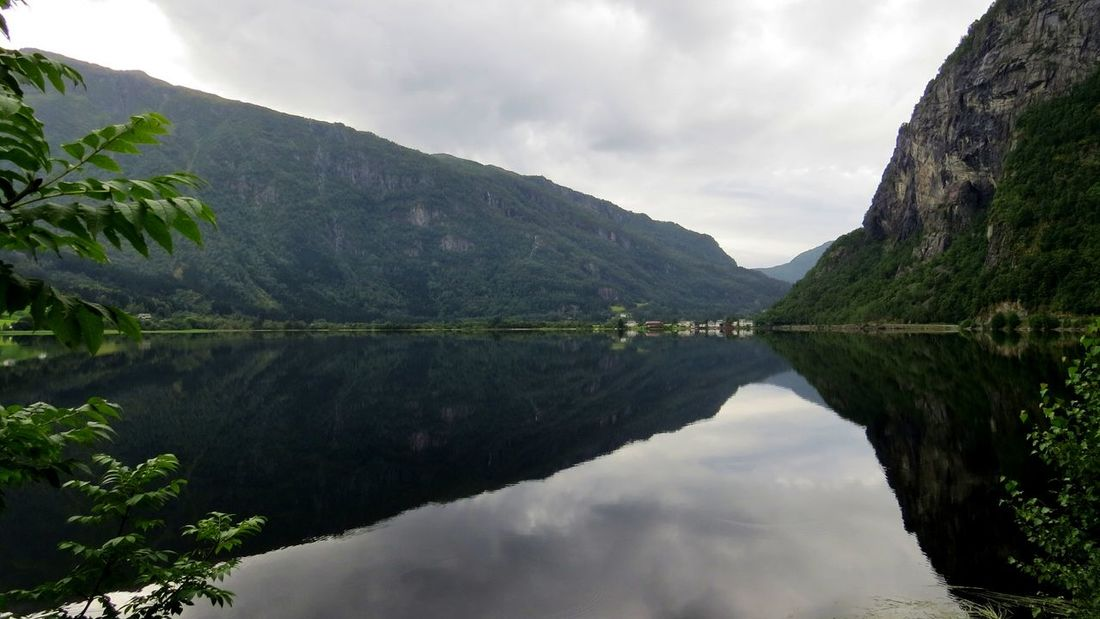 Beauty In Nature Cloud - Sky Day Lake Mountain Nature No People Outdoors Reflection Reflection Reflection_collection Reflections In The Water Scenics Sky Tree Water Western Norway