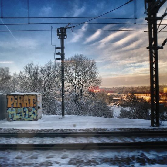 Railroad Track Snow Cold Temperature Winter Weather Cable Power Line  Sky Electricity  Electricity Pylon Outdoors No People Day Cloud - Sky Technology