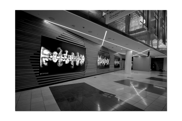 Westfield Centre_Bespoke 4 San Francisco Interior Design Showcase Interactive  Upscale Urban Shopping Mall Digital Facade Creative Lighting Led Displays ImmersiveTextures And Patterns Architectural Detail Architecture Architecture_collection Black & White Black And White Photography Black And White Black And White Collection  Lines And Angles Pattern Pieces Monochrome Monochrome_Photography