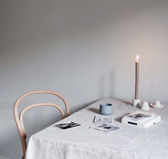 EyeEm Selects Candle Indoors  Illuminated Autumn Table Tablecloth Linen Coffee Ceramics No People Table Scene Coffee Time Tea Time Calm Monochrome Design Desk Prints Nordic Interior Design Interior Thonet Bugholz Bentwood