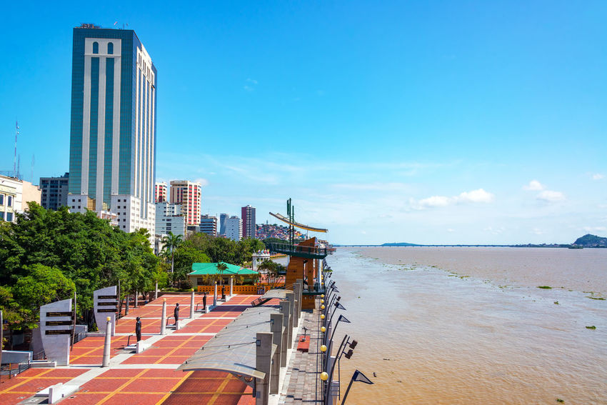 Waterfront in Guayaquil, the largest city in Ecuador Architecture Blue Boulevard Brick Business City Development Downtown Ecuador Guayaquil Guayaquil - Ecuador Guayas Malecon Modern Park Pedestrian Port River Riverfront Sky South America Travel View Walkway Water