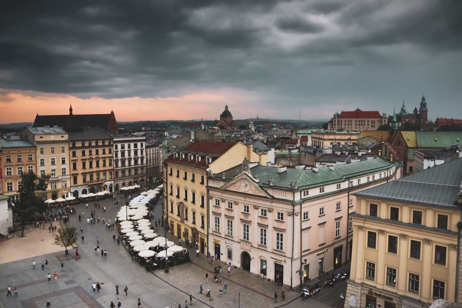 Polska Poland Krakow Architecture Building Exterior City Built Structure Cloud - Sky Sky Building High Angle View Nature Cityscape Incidental People Town Travel Destinations City Life Crowd Street Water Residential District Outdoors My Best Travel Photo A New Beginning Autumn Mood Autumn Mood