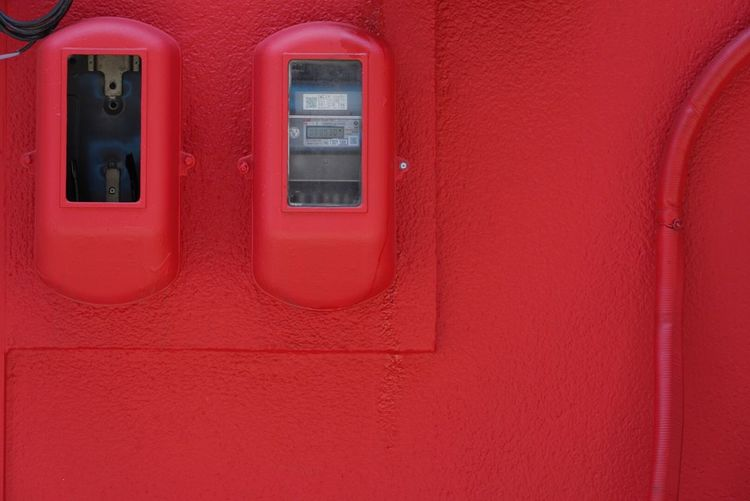 Electric Meter Streetphotography Red Architecture No People Built Structure Building Exterior Day Wall - Building Feature