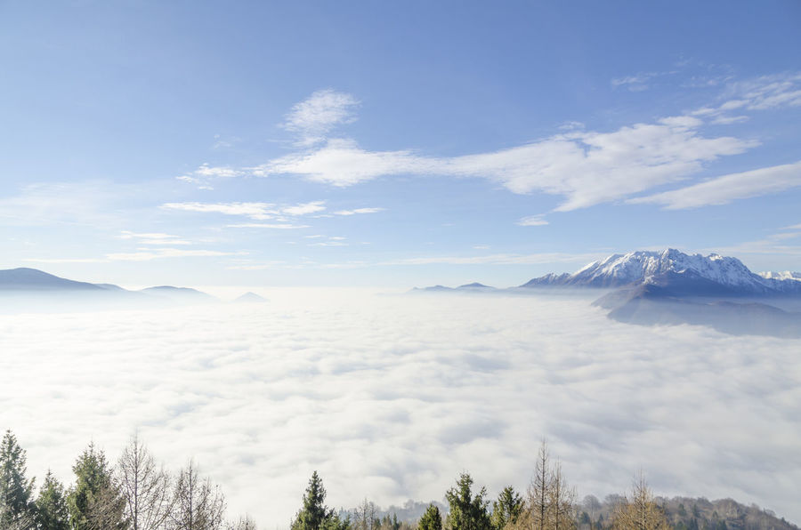 Sea of fog and snow-capped mountain in a sunny day in Ticino, Switzerland. Beauty In Nature Blue Cloud - Sky Cloudscape Covering Day Elevated View Idyllic Landscape Majestic Mountain Mountain Range Nature No People Outdoors Power In Nature Scenics Sky Snow Snowcapped Mountain Sunny Swiss Alps Tranquil Scene Tranquility Weather