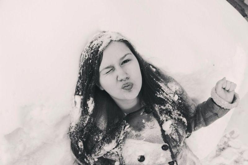 Snow...me...kiss...white and black First Eyeem Photo