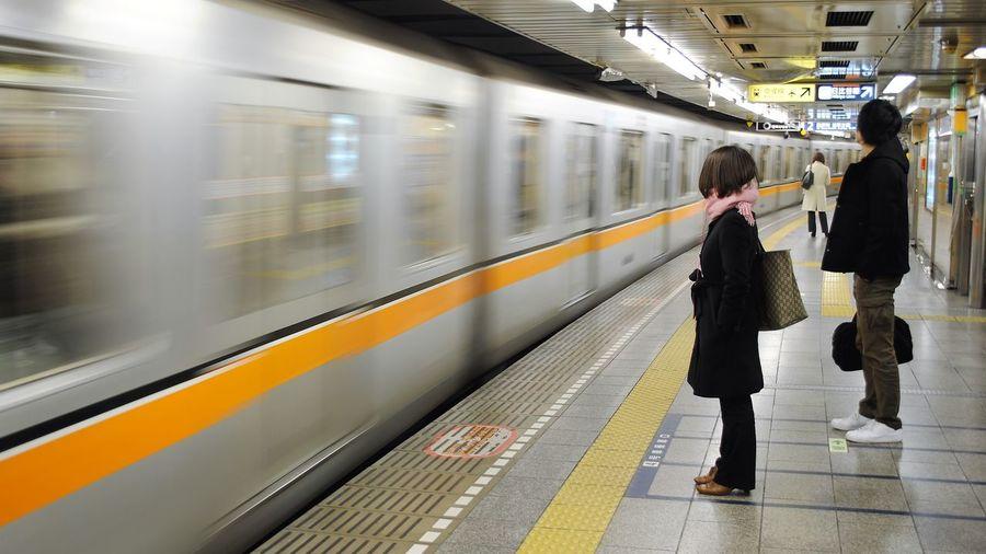 Subway in Tokyo, Japan Japan Tokyo Tokyo,Japan Blurred Motion Motion Public Transportation Rail Transportation Speed Subway Subway Platform Subway Train Train Transportation