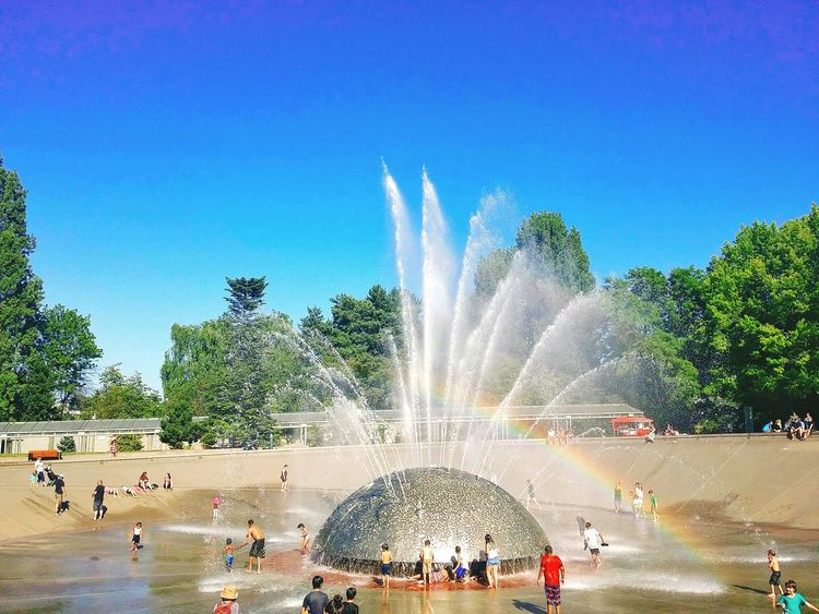 How I miss being a little child, even playing with water could make me happy already. Seattle Washington Seattle, Washington Keyarena Seahawks Husky 12 Space Needle Children Happiness Water Childhood