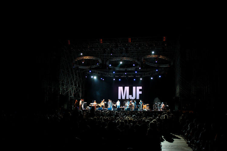 Crowd at illuminated music concert at night