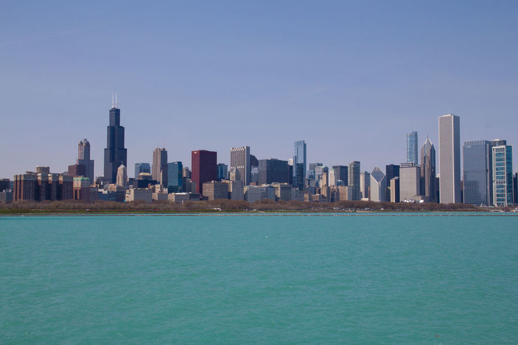 Skyline of Chicago (April) Chicago Cityscape Sea Sky Skyline Skyscraper USA Water Lake Michigan Adler Planetarium City Daylight
