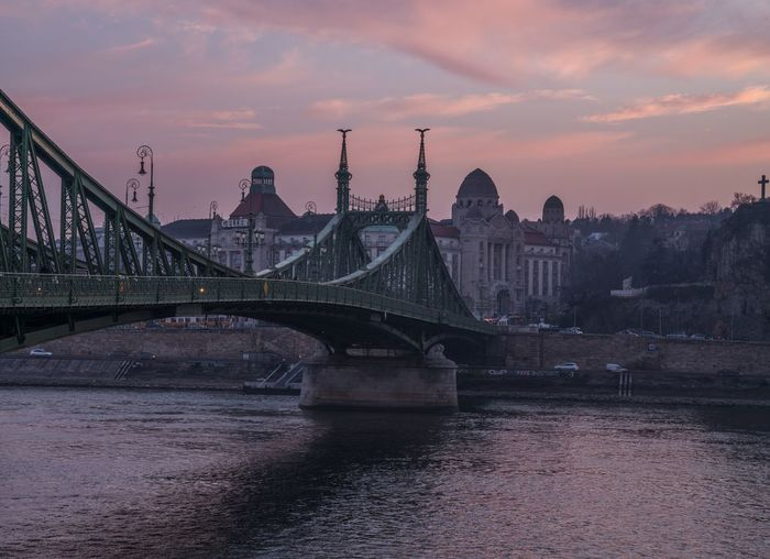 Connect Liberty Bridge Szabadsaghid Hungary Magyarország Budapest Architecture Built Structure Building Exterior Water Sky Travel Destinations City Connection Bridge River Sunset Bridge - Man Made Structure Tourism Travel Cloud - Sky Cityscape