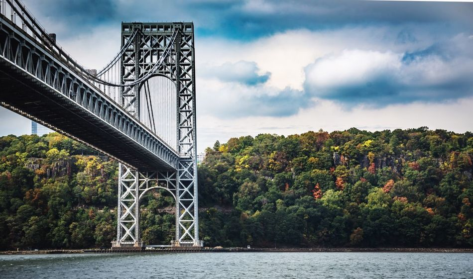 Bridge - Man Made Structure Connection River Sky Cloud - Sky Water Tree Architecture Built Structure Outdoors Day Transportation No People Suspension Bridge Nature Travel Destinations Bridge George Washington Bridge NYC Photography NYC Streetphotography Street Adventure Dream Love