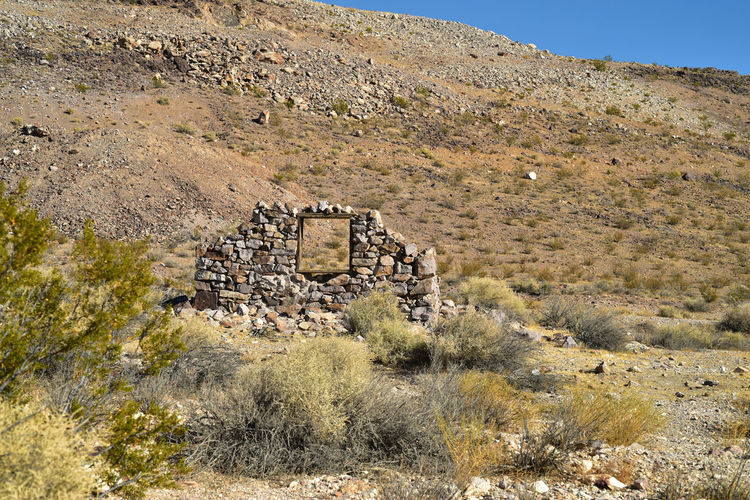 View of old ruin on mountain