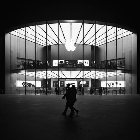 Monochrome Photography Real People Full Length Built Structure Architecture Rear View Lifestyles Indoors  Leisure Activity One Person Men Airport Day Public Transportation Sky People Apple Store Nanjing