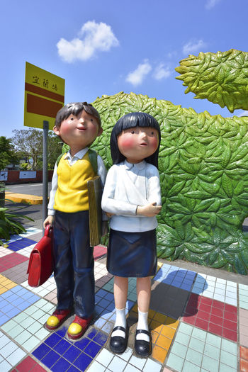 Archival Artistic Boys Brother Child Childhood Children Only Day Dolls Friendship Full Length Happiness Holiday Installation Art Males  Outdoors People Preschool Age Smiling Space Statue Taiwan Style Togetherness Travel Two People