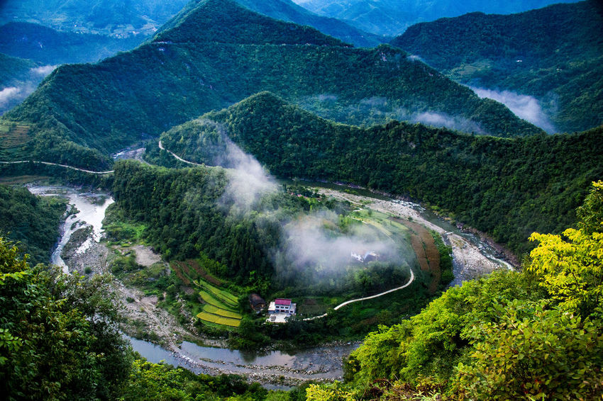 High Angle View Water Nature Spraying Agriculture Mountain Outdoors Motion Beauty In Nature Growth Day Scenics Irrigation Equipment Waterfall Tree No People Terraced Field