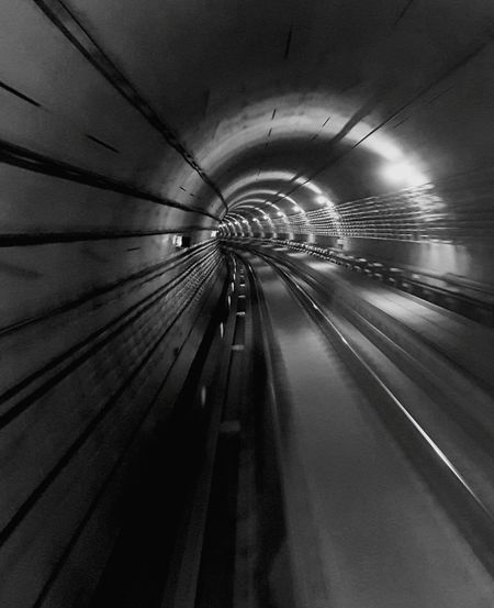 Illuminated Tunnel Transportation No People Indoors  Architecture Day Speed Night Space Motion Effect