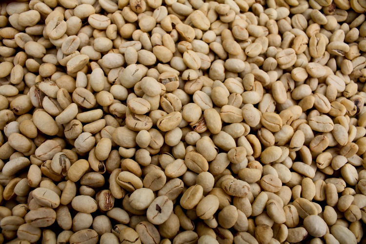 Full frame shot of raw coffee beans for sale at market