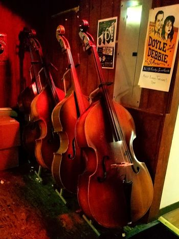 Stand up bass' Music Musical Instrument No People Arts Culture And Entertainment Musical Instrument String Bass Stringed Instrument Honky Tonk NashvilleTN Groups Group Of Objects Grouping