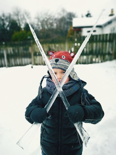 Swards EyeEm Selects Warm Clothing Snow Cold Temperature Winter Portrait Smiling Snowing Activity Front View Headwear Disguise Superhero Winter Coat Icicle Frozen Ice Crystal Scarf Jacket Hood - Clothing The Great Outdoors - 2018 EyeEm Awards