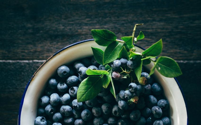 Directly above shot of blueberries in bowl on table