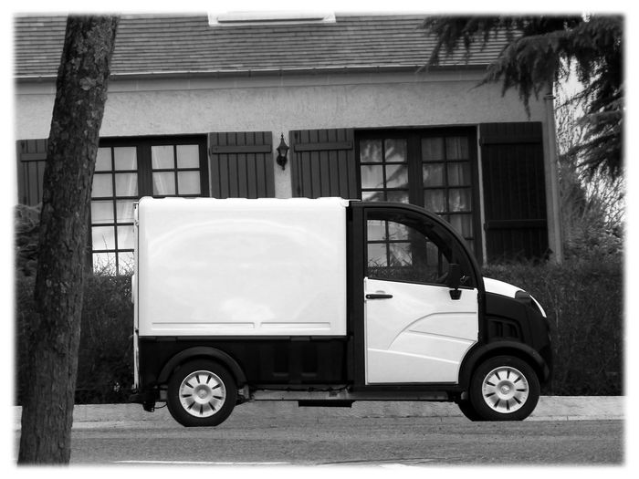 12 Mpx 4x3 Aixam BnW Aixam TM Utility Car One Car Black And White - Car No People White And Black White Frame Black And White Photography