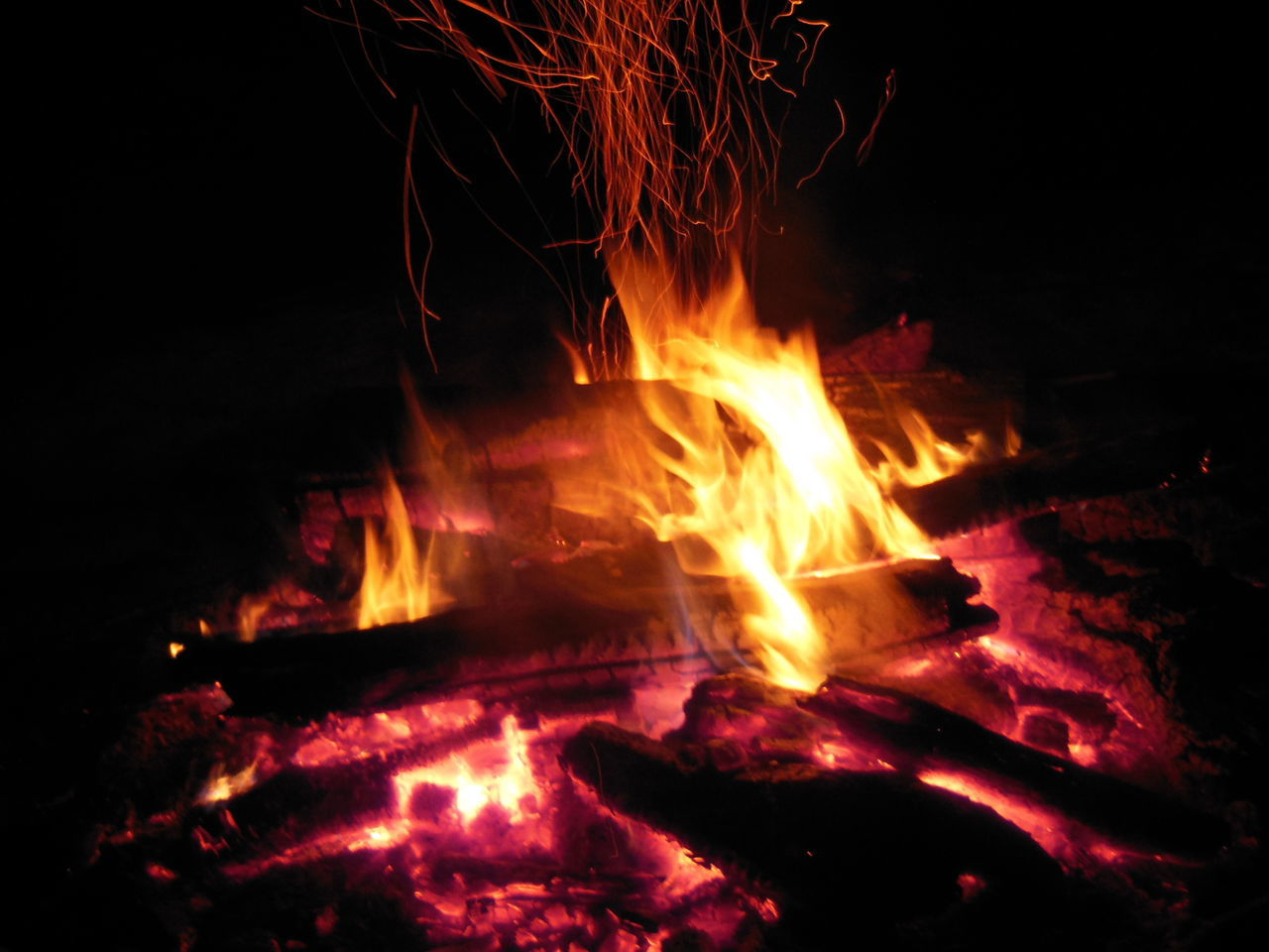 burning, flame, night, heat - temperature, glowing, no people, bonfire, outdoors, close-up, motion