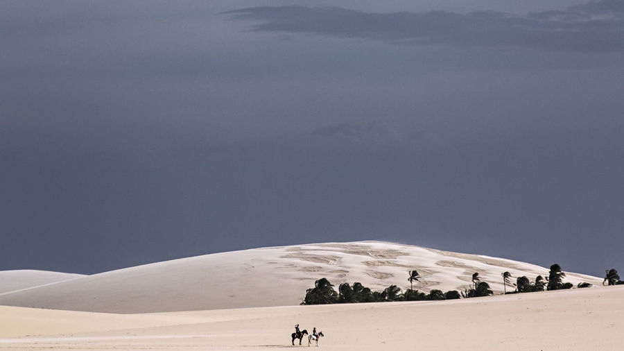 People riding horse on sand dune against sky