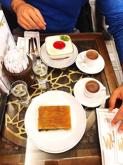 Istanbul HafizMustafa Localpastry Turkishpastry Pistachio Baklava Pudding Cake Turkish Coffee Turkish Food