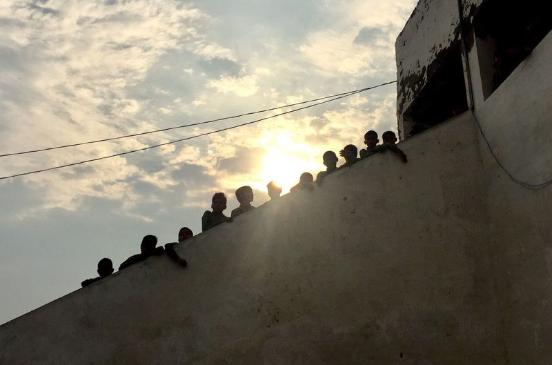 Climbing up Low Angle View Outdoors Silhouette Togetherness Steps And Staircases India School School Time  Schoolkids Morning Light Morning Sky