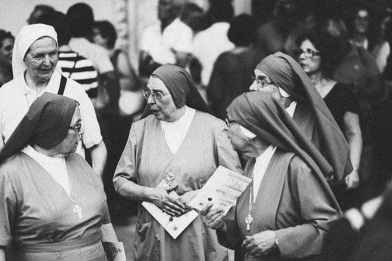 Street Photography Black & White Black And White Blackandwhite Palermo Nuns Nun Group Of People Clothing People Arts Culture And Entertainment Adult Archival The Street Photographer - 2018 EyeEm Awards Celebration Women Real People The Art Of Street Photography